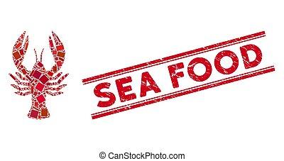mosaïque, timbre, homard, fruits de mer, grunge, lignes