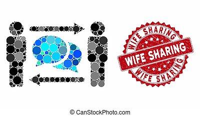 mosaïque, timbre, messages, épouse, grunge, partage, personnes, échange