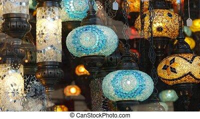 mosaïque, verre, lampes, lanterns., folklorique, multi, retro, brillant, authentique, arabe, milieu, oriental, éclairé, magasin, lights., turc, style, métier, decor., beaucoup, oriental, glowing., coloré, islamique, marocain, coloré