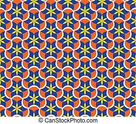 mosaic., パターン, 抽象的, patterns., seamless, 花, 幾何学的