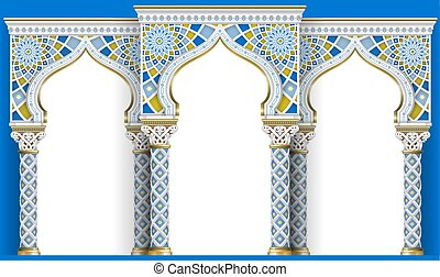 mosaic., 建築, アーチ, 刻まれた, 東