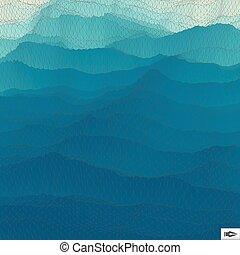 mosaic., 水, バックグラウンド。, 波状, 格子, surface.