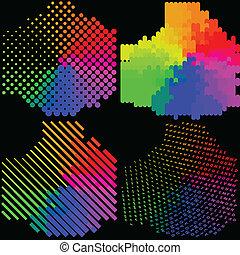 mosaic., 集合, 摘要, 多种顏色, 背景。, 矢量