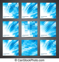 Mosaic abstract geometric backgrounds set.