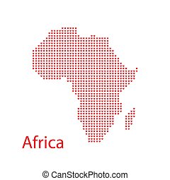 Mosaic Africa map of love hearts in red color isolated on a...