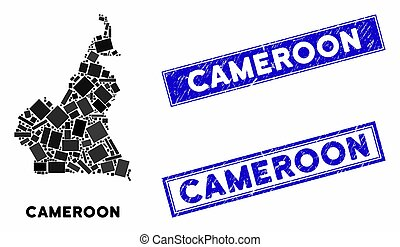 Mosaic African Cameroon Map and Scratched Rectangle Stamp Seals