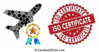 Mosaic Airplane Certification with Distress ISO Certificate Stamp