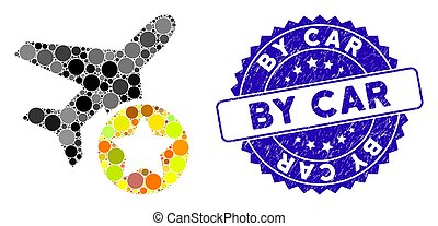 Mosaic Airplane Rating Icon with Textured By Car Stamp