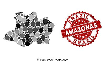 Mosaic Amazonas State Map and Grunge Round Stamp Seal