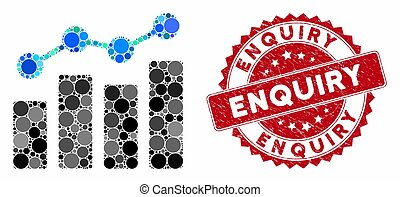 Mosaic analytics and rubber stamp seal with Enquiry caption. Mosaic vector is formed with analytics icon and with scattered circle elements. Enquiry stamp uses red color, and scratched design.