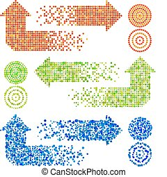 Mosaic Arrows - Vector mosaic arrow signs set in different...