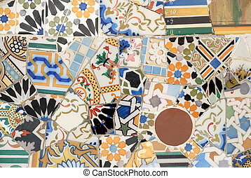Mosaic art by Antoni Gaudi, Barcelona Spain
