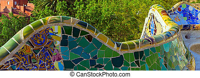 mosaic at the Parc Guell Barcelona Spain - bench mosaic ...