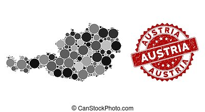 Mosaic Austria Map and Grunge Round Watermark