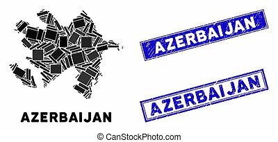 Mosaic Azerbaijan Map and Grunge Rectangle Seals