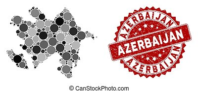 Mosaic Azerbaijan Map and Scratched Round Stamp Seal