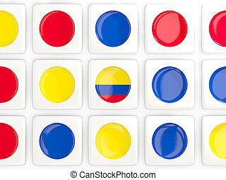 Mosaic background with flag of colombia