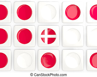 Mosaic background with flag of denmark