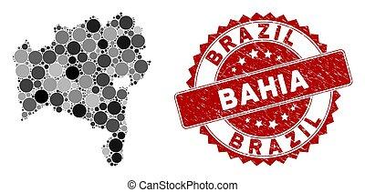 Mosaic Bahia State Map and Grunge Round Watermark - Mosaic ...