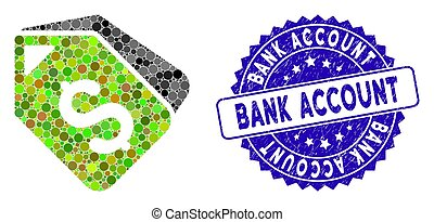 Mosaic Bank Account Tags Icon with Scratched Bank Account...