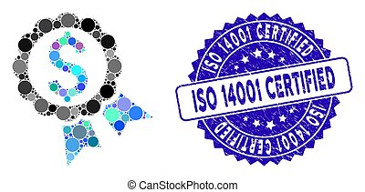 Mosaic Bank Award Icon with Scratched ISO 14001 Certified Seal