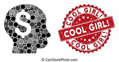 Mosaic Banker with Textured Cool Girl! Stamp - Mosaic banker...