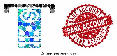 Mosaic Banknotes Withdraw with Scratched Bank Account Seal -...