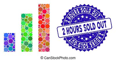 Mosaic Bar Chart Icon with Grunge 2 Hours Sold Out Stamp