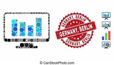 Mosaic Bar Chart Monitoring Icon with Grunge Germany, Berlin Seal
