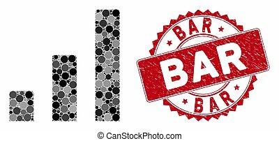 Mosaic Bar Chart with Textured Bar Stamp