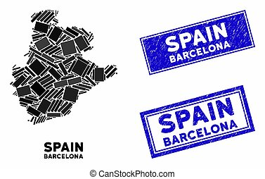 Mosaic Barcelona Province Map and Distress Rectangle Stamp Seals
