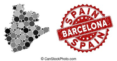Mosaic Barcelona Province Map and Scratched Round Stamp Seal