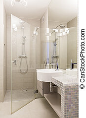Mosaic bathroom with glass shower
