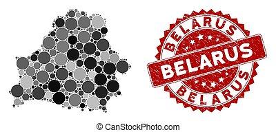 Mosaic Belarus Map and Distress Circle Seal