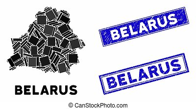 Mosaic Belarus Map and Grunge Rectangle Stamps