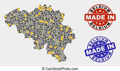 Mosaic Belgium Map of Service Elements and Made In Grunge Stamp