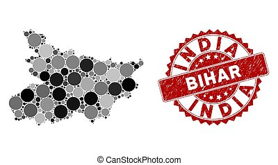 Mosaic Bihar State Map and Scratched Circle Stamp