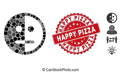 Mosaic Bipolarity Face Icon with Grunge Happy Pizza Stamp