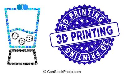 Mosaic Bitcoin Blender Icon with Distress 3D Printing Stamp