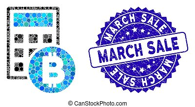 Mosaic Bitcoin Calculator Icon with Textured March Sale Seal