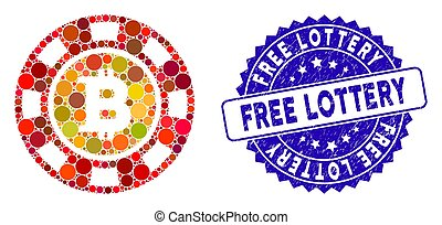 Mosaic Bitcoin Casino Chip Icon with Grunge Free Lottery Stamp