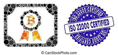Mosaic Bitcoin Certificate Icon with Grunge ISO 22000 Certified Seal