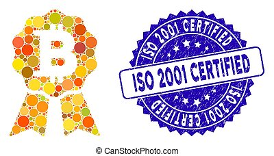 Mosaic Bitcoin Certificate Seal Icon with Distress ISO 2001 Certified Seal