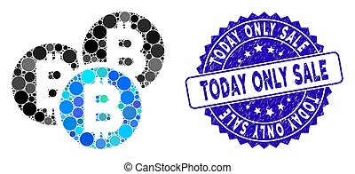 Mosaic Bitcoin Coins Icon with Grunge Today Only Sale Stamp