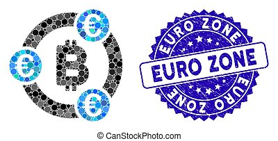 Mosaic Bitcoin Euro Collaboration Icon with Scratched Euro Zone Stamp