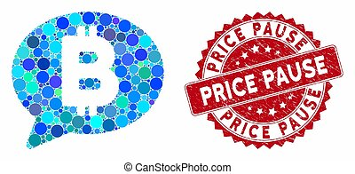 Mosaic Bitcoin Message with Textured Price Pause Seal