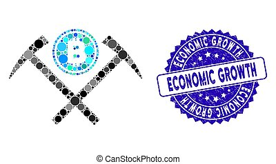 Mosaic Bitcoin Mining Hammers Icon with Textured Economic Growth Seal