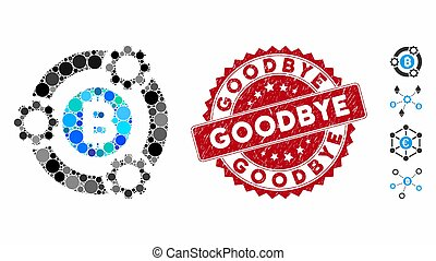 Mosaic Bitcoin Pool Collaboration Icon with Textured Goodbye Stamp