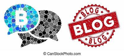 Mosaic Bitcoin Webinar Messages with Grunge Blog Stamp
