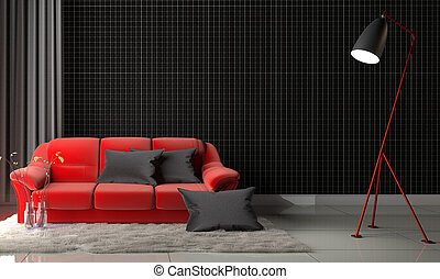 Mosaic black on the wall in living room with red sofa and carpet. 3D rendering